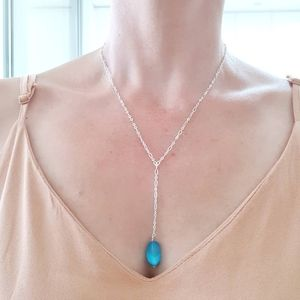 Blue Steel Bead Chain Necklace